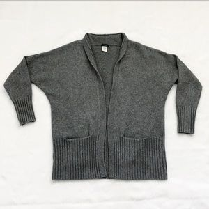 J. Crew Gray Wool Cashmere Open Front Cardigan